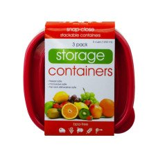 3 Pack Plastic Deep Square Food Container