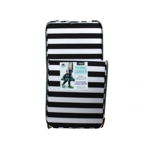 Stripes Set of 2 Stacking Insulated Thermal Food Carrier