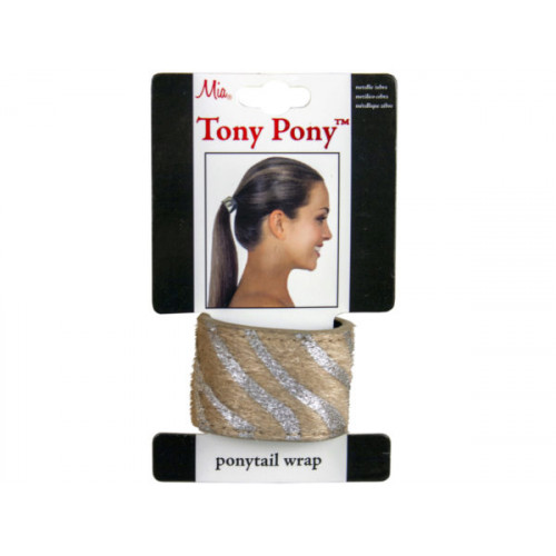 tony pony metallic zebra ponytail wrap