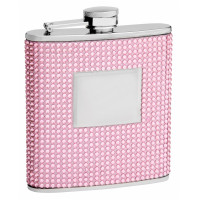 Hip Flask Holding 6 oz - Pink Beaded Rhinestone Finish, Stainless Steel, Screw-On Cap, Leakproof, Rustproof - Front Engravable for Personalized Gift