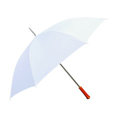 "Wedding Umbrella - White - 60"" Across - Rip-Resistant 170T Polyester - Manual Open - Light Strong Metal Shaft and Ribs - Wood Color Handle"