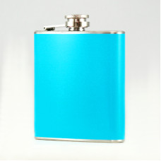 Hip Flask Holding 6 oz - Pocket Size, Stainless Steel, Rustproof, Screw-On Cap - Baby Blue Finish