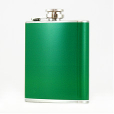 Hip Flask Holding 6 oz - Pocket Size, Stainless Steel, Rustproof, Screw-On Cap - Green Finish