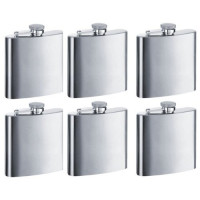 Personalized Groomsman Flasks, 6pcs Engraved with Funnels