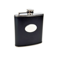 6oz Black Engravable Flask
