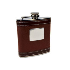 Personalized Faux Leather Hip Flask with Engraving