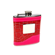 2-Tone Pink Hip Flask with Engraving