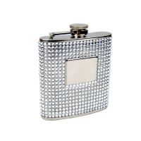 Silver Bead 6oz Flask with Engraving Plate