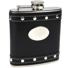 Silver Stud Black Faux Leather Hip Flask, Custom Engraved