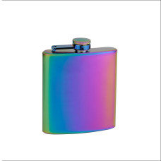 6oz Rainbow Colored Hip Flask