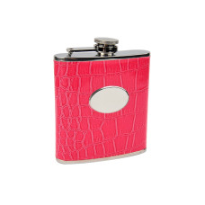 Pink Eel Skin Flask with Engraving Plate