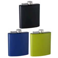 6oz Rubber-Coated Stainless Steel Hip Flask, Assorted Colors