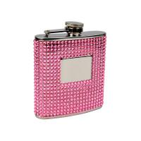 6oz Pink Beaded Hip Flask, Engravable