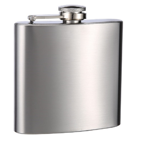 No Personalization Plain 12 oz Stainless Steel Hip Flask