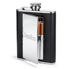 6oz Cigarette Case Hip Flask, Personalized