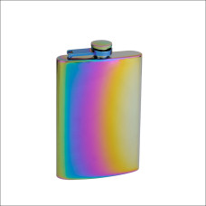 8oz Rainbow Colored Hip Flask