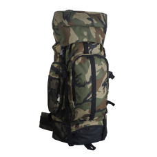 "Large Camouflage Backpack for Hiking and Mountaineering - 600D Polyester - Water-Resistant, Hard Bottom, Many Zippered Elastic and Mesh Pockets - Padded Shoulder Straps - 13"" × 32"" × 8"""