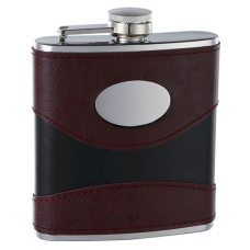6oz 2-Tone (Wine/Black) Hip Flask with Engraving Plate