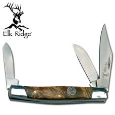 Simulated Burl Wood Handled Trapper Knife