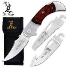 "5"" Elk Ridge Pakkawood Handle Knife with 3 Blades"