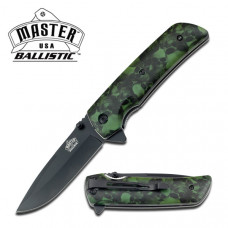 Green Skull Camouflaged Action Assist Knife