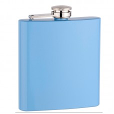 6oz Baby Blue Painted Flask