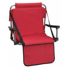 Barton Outdoors Folding Chair with Armrests Stadium Style for Bleacher Bench - Red - Padded Cushion - Plastic Armrests on Light Metal Tube Frame with Securing Spring-Loaded Hooks