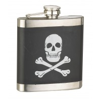 6oz Black Skull X-Bone Flask
