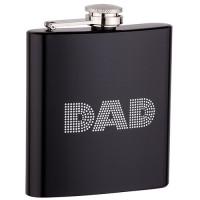 6oz Black Dad Flask with Black Gift Box