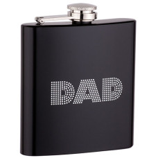 6oz Black Dad Flask with Black Gift Box