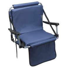 Barton Outdoors Folding Chair with Armrests Stadium Style for Bleacher Bench - Blue - Padded Cushion - Plastic Armrests on Light Metal Tube Frame with Securing Spring-Loaded Hooks