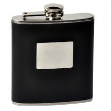 6oz Black Faux Leather Flask with Engrave Area