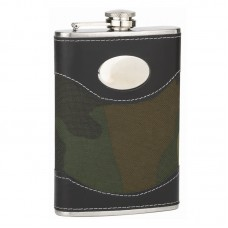 8oz Camouflage Flask with Oval Engrave Area
