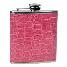 6oz Pink Faux Leather Flask