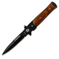 Black Stiletto with Wood handle