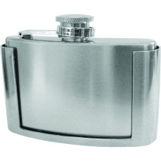 "Mini Flask Belt Buckle - Stainless Steel, Magnet Fastened, Satin Finish with Polished Top and Bottom - Fits 1 1/2"" Wide Belt, 3 7/8 × 2 15/16"""