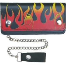 Leather Biker Flame Wallet