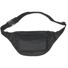 Black Leather Fanny Bag