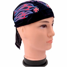 Flaming Maltese Cross Skull Cap