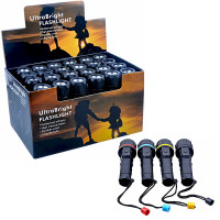 Barton Outdoors LED Flashlights - 3 Bright Bulbs Each - Easy On/Off Switch - Water-Resistant Rubberized Case - Wrist Strap - Box of 24 - Ready for Countertop Display
