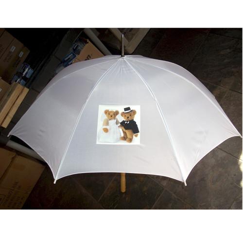 Custom Printed Personalized White Wedding Umbrellas For