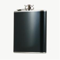 Hip Flask Holding 6 oz - Pocket Size, Stainless Steel, Rustproof, Screw-On Cap - Black Finish