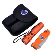 "Survival Knife and Flashlight Set - Orange Finish - Emergency - LED Light - 3.5"" Blade - Seat Belt Cutter, Glass Breaker in Black Nylon Case With Logo on Knife Handle and Pouch"