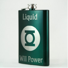 Green Custom Engraved Hip Flask