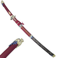 Dragon Sword with Red Accents and 2 Piece Throwing Knife Set