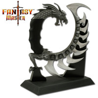 Fantasy Knife with Wooden Display Stand and 9 Blades