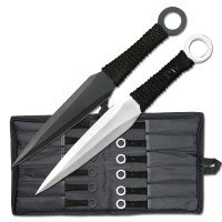 Set of 12 Black and Silver Throwing Knives
