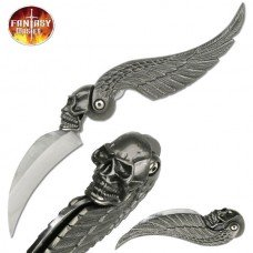 Fantasy Folding Knife - Wing Design Handle with Skull Bolster