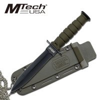MTech USA Tactical Fixed - Double Bladed Knife with Sheath and Neck Chain
