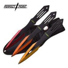 Stainless Steel Throwing Knives with Red, Orange and Yellow